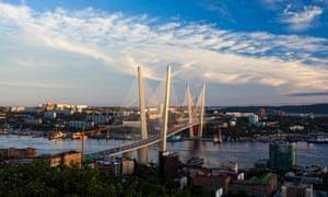 View over Vladivostok and its Golden Bridge.