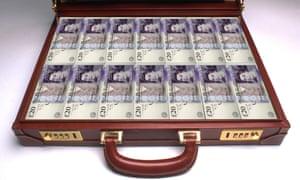 Briefcase full of twenty pound banknotes