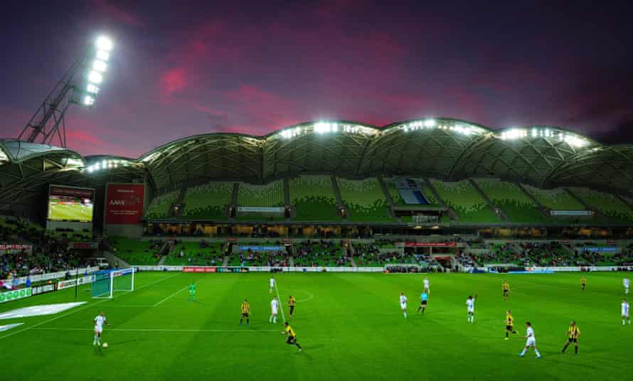 The sun sets over AAMI Park during the A-League match between Melbourne Victory and Wellington Phoenix on Sunday.