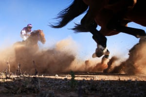 Horses churn up the dirt track
