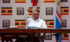 Uganda's president, Yoweri Museveni, addresses the nation at State House in Entebbe earlier this month