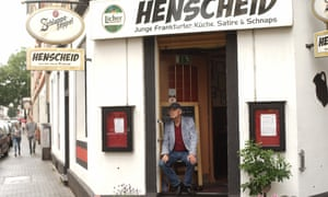 Legendary German author Eckhard Henscheid in front of the Henscheid, Frankfurt, Germany