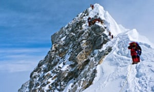 Climbers descending the Hillary Step on Everest.
