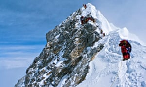 Climbers descend the Hillary Step