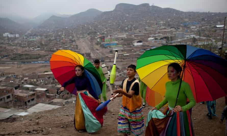 A theatre group performing in Villa El Salvador outside Lima
