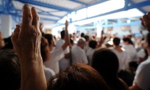 People attending a Joao de Deus event in Abadiânia.