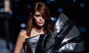 US model Kaia Gerber wearing Saint Laurent during Paris fashion week.