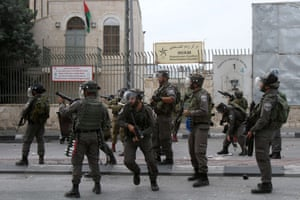 Israeli security forces stand guard during clashes with Palestinian protesters in the West Bank city of Bethlehem.
