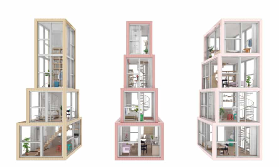 In Kwong Von Glinow's Towers within a Tower design apartment units are stacked one on top of another vertically. This render shows a studio, one bedroom apartment and a family apartment.