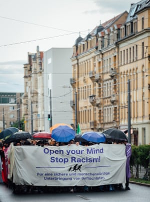 A march supporting refugees in Dresden, eastern Germany, on Monday.