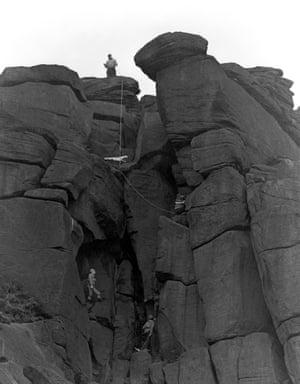 Climbers on Stanage Edge, Derbyshire, 1964.