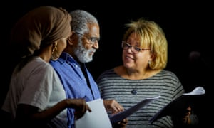 'Bring a sleeping bag if you want' … actors Yusra Warsama, Wyllie Longmore and Liz Hume-Dawson in rehearsal.