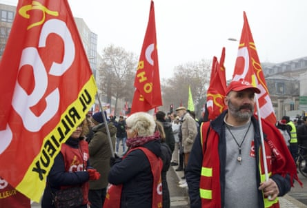 Members of France's CGT union march in Lyon