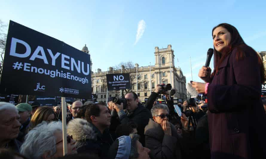 Labour MP Luciana Berger speaks during a protest against antisemitism in the Labour party in Parliament Square, London, in March.