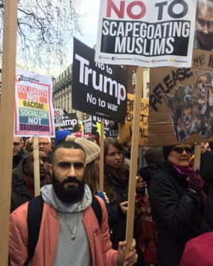 Faizan, 24, from Tooting, south London, said he had come along to voice his opinion on Trump's policies.