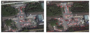 Satellite images of a Wuhan Tianyou hospital car park in October 2018 (L) and October 2019.
