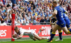 Lewis Tierney scores Catalans Dragons' first try in the corner at Wembley.