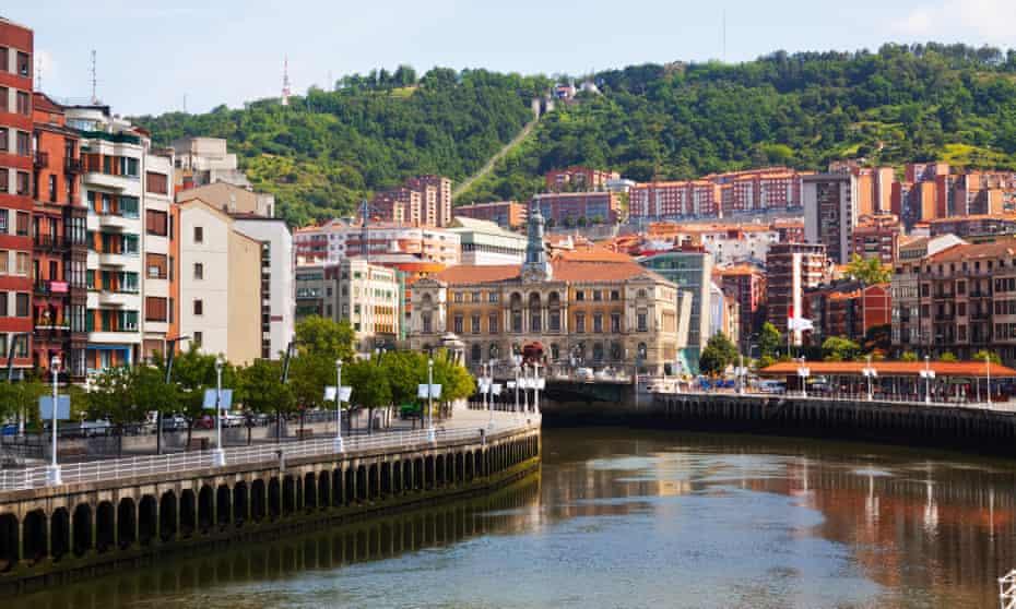 Embankment of river and houses. Bilbao.