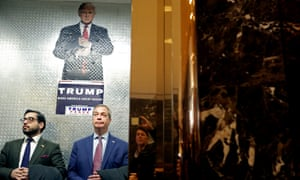 Nigel Farage arrives at Trump Tower to meet president-elect Donald Trump.