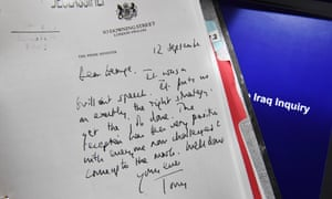 A detail of a declassified handwritten letter sent by former British Prime Minister Tony Blair, to former US President George Bush.