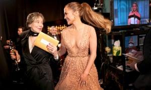 Costume designer Milena Canonero, winner of the best costume design award for 'The Grand Budapest Hotel' with Jennifer Lopez