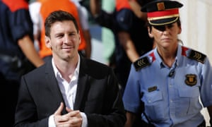 Lionel Messi, arrives at a court to answer questions in a tax fraud case in Gava, near Barcelona, Spain. Barcelona prosecutors are calling for the arrest of Messi's father.