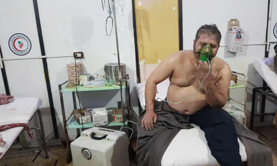 A man receives treatment in hospital after the alleged gas attack in eastern Ghouta.