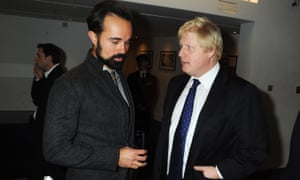 Evgeny Lebedev and Boris Johnson attending a reception at the Royal Opera House in London in November 2009
