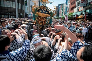 Participants with the mikoshi outside Sensoji Temple in the Asakusa district
