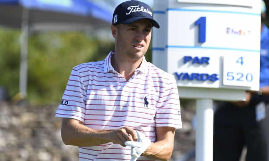 Justin Thomas waits to hit from the first tee during the final round of the Tournament of Champions golf event