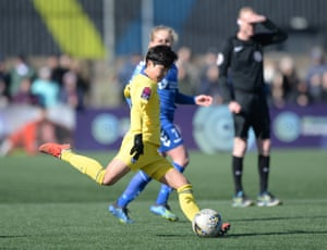 Ji So-yun in action for Chelsea in their win at Durham.