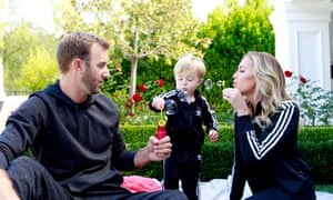 'Sanctuary': Dustin Johnson with Paulina Gretzky and their baby son Tatum at Wayne Gretzky's home in California.