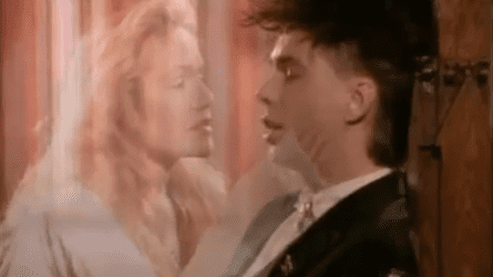 A screenshot from the official 1983 video clip of Australian synth-pop band Real Life's song Send Me an Angel