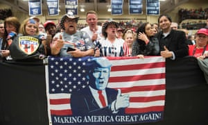 Donald Trump supporters at a rally in Elkhart, Indiana