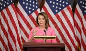 Nancy Pelosi speaks on Capitol Hill on 7 November.