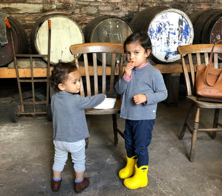 The writer's daughters devour crisps at Newton Court Cidery.