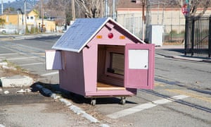 One of Greg Kloehn's tiny homes. All of the homes that Kloehn builds are constructed out of discarded household items that he finds on the sidewalks and alleys of Oakland: trash, old appliances, broken furniture. They're all on wheels, so they can be moved.