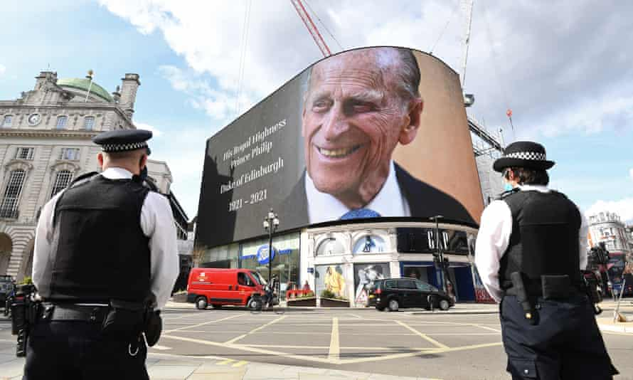Notice of Duke of Edinburgh's death is displayed on the large screen at Piccadilly Circus in London