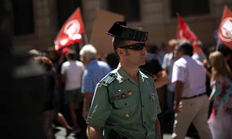 A Guardia Civil member in Madrid, Spain
