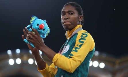 Caster Semenya of South Africa celebrates winning a gold medal