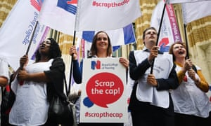 Nurses protest against the pay cap outside the Department of Health in central London