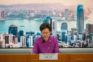 Hong Kong's chief executive, Carrie Lam, during a press conference at the government headquarters