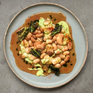 Belzan's butter beans with parsley and charred savoy leaves.