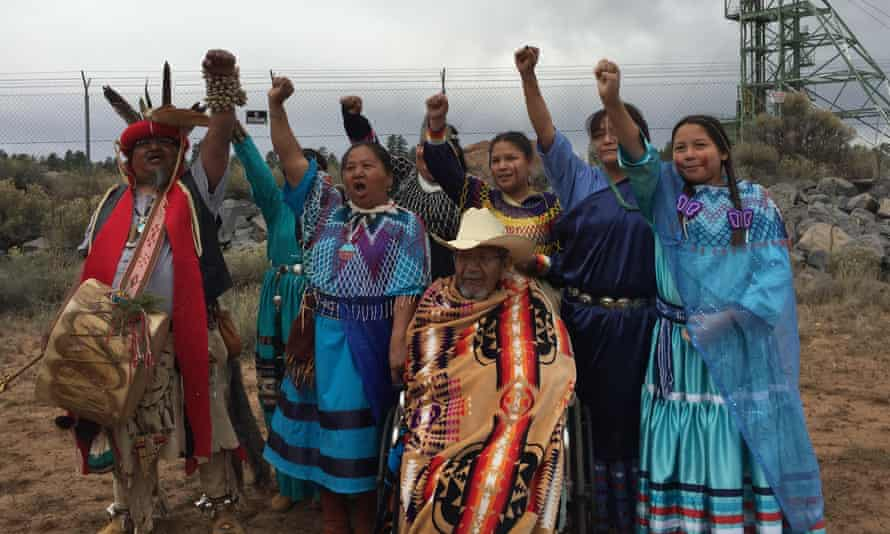 Three generations of Havasupai tribe members demonstrate against uranium extraction outside the Canyon Mine site in 2016.