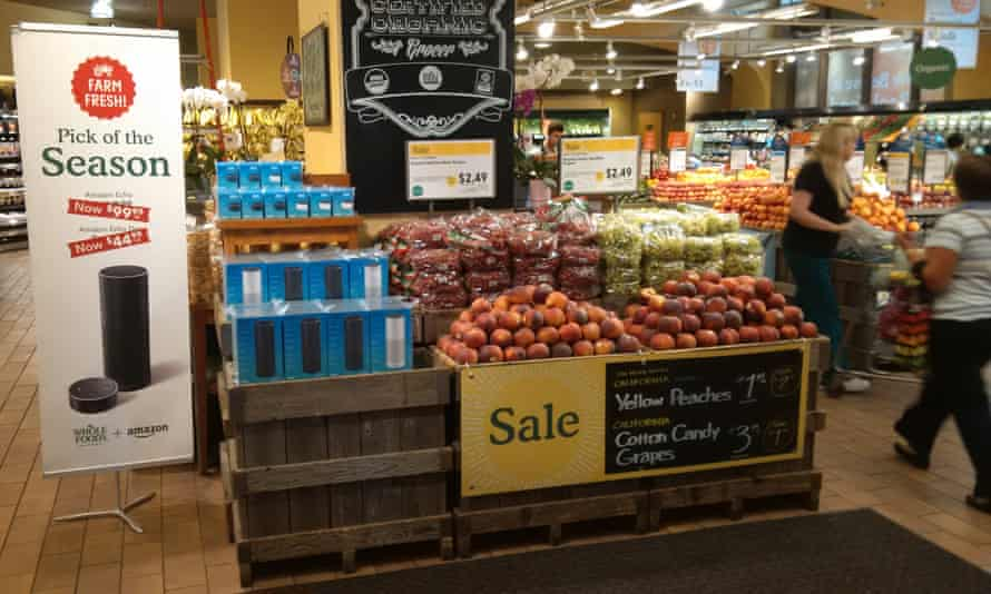Amazon Echos are available in the produce section at the Whole Foods in the Chelsea neighborhood of New York City.