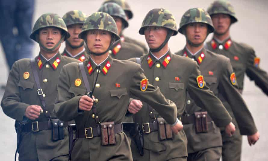 North Korean soldiers march near the demilitarised zone separating the two Koreas.