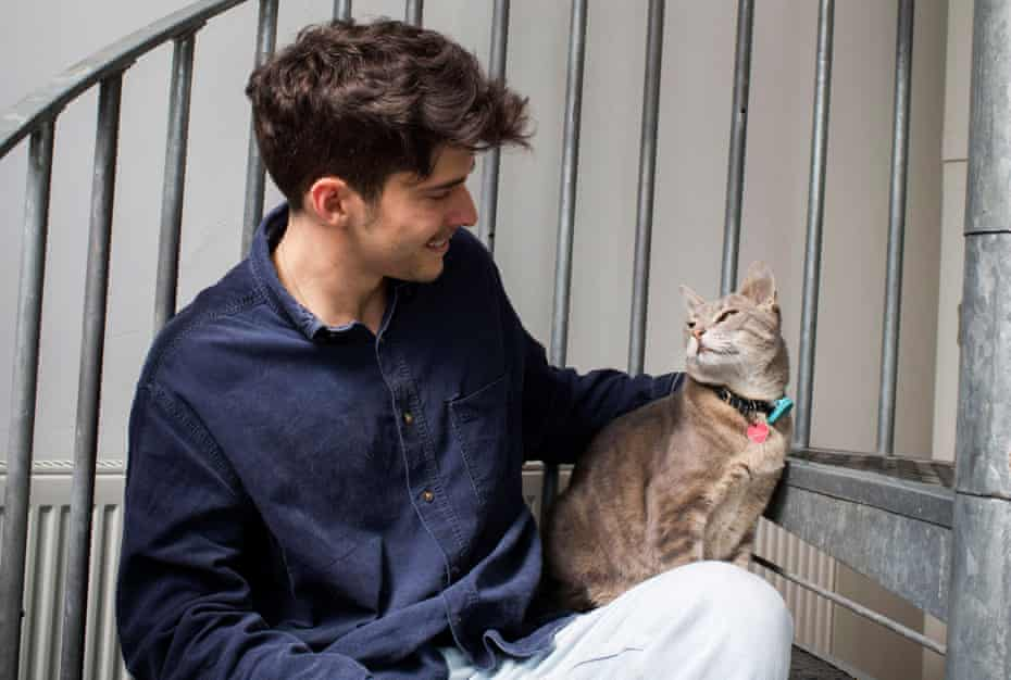Matt Weatherall and cat named Monty
