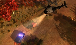 A helicopter chase scene from American Fugitive.