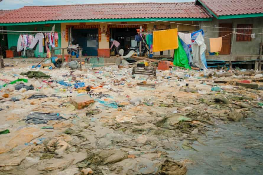 Waste spread on the beach in Sihanoukville, Cambodia.