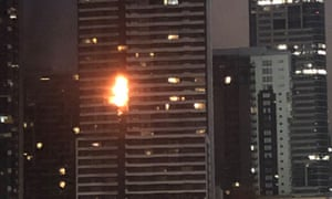 The fire at an apartment block in Melbourne's Spencer Street taken at 6am on Monday